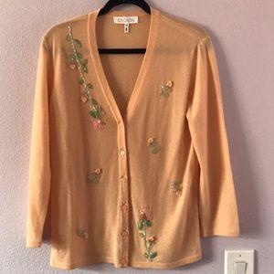 Vintage peach Escada cashmere cardigan